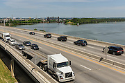 Photojournalists ride in an SUV ahead of the hearse in the June 10, 2016 Muhammad Ali funeral procession on Interstate 64 before exiting downtown at 9th Street. (Photo by Brian Bohannon)