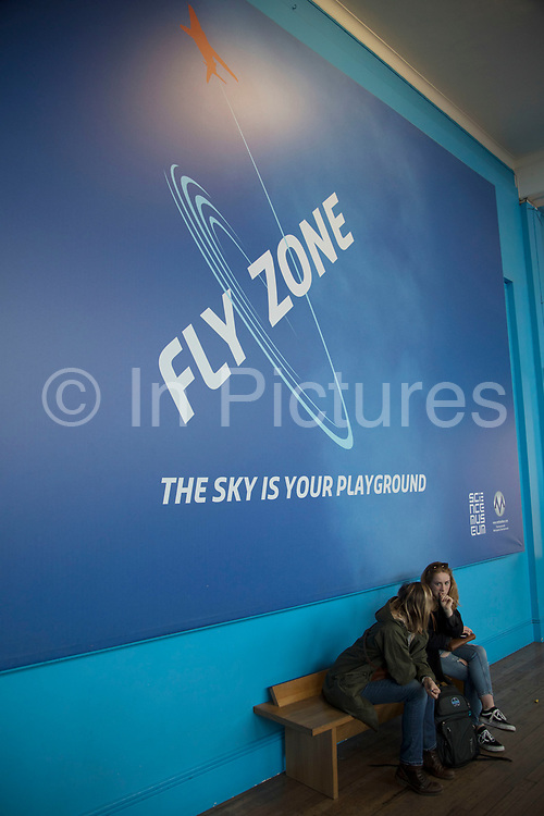 Fly Zone at the Science Museum in London, England, United Kingdom. The Science Museum was founded in 1857 with objects shown at the Great Exhibition of 1851. Today the Museum is world renowned for its historic collections, awe-inspiring galleries and inspirational exhibitions.