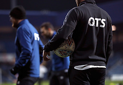 """General view of a Derby County player with a matchball before the Sky Bet Championship match at Loftus Road, London. PRESS ASSOCIATION Photo. Picture date: Tuesday March 6, 2018. See PA story SOCCER QPR. Photo credit should read: Tim Goode/PA Wire. RESTRICTIONS: EDITORIAL USE ONLY No use with unauthorised audio, video, data, fixture lists, club/league logos or """"live"""" services. Online in-match use limited to 75 images, no video emulation. No use in betting, games or single club/league/player publications."""