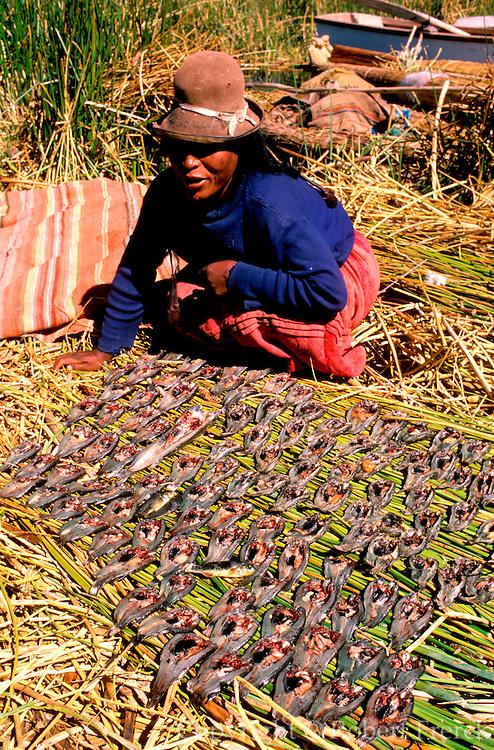 PERU, LAKE TITICACA, UROS floating islands; woman drying fish