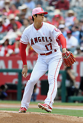 May 13, 2018 - Anaheim, CA, U.S. - ANAHEIM, CA - MAY 13: Los Angeles Angels of Anaheim pitcher Shohei Ohtani (17) in action during the first inning of a game against the Minnesota Twins played on May 13, 2018 at Angel Stadium of Anaheim in Anaheim, CA. (Photo by John Cordes/Icon Sportswire) (Credit Image: © John Cordes/Icon SMI via ZUMA Press)