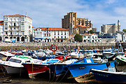 Seaside resort of Castro Urdiales in Northern Spain with 13th Century Iglesia de Santa Maria and El Faro de Castro lighthouse