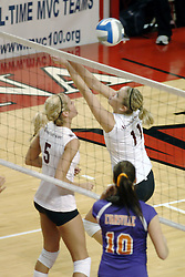 24 November 2006: Sara Thomas saves the ball from out of bounds during a Quarterfinal match between the Evansville University Purple Aces and the Missouri State University Bears.The Tournament was held at Redbird Arena on the campus of Illinois State University in Normal Illinois.<br />
