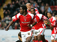Photo: Tom Dulat/Sportsbeat Images.<br /> <br /> Charlton Athletic v Cardiff City. Coca Cola Championship. 10/11/2007.<br /> <br /> Charlton Athletic's Sam Sodje (4) celebrates his first goal of the game. Charlton leads 1-0