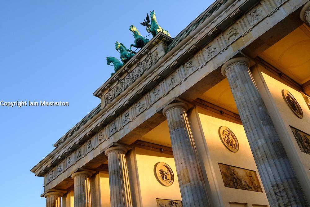Brandenburg Gate at dusk in Berlin Germany