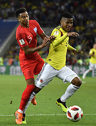 MOSCOW, July 3, 2018  Jesse Lingard (L) of England vies with Wilmar Barrios of Colombia during the 2018 FIFA World Cup round of 16 match between England and Colombia in Moscow, Russia, July 3, 2018. (Credit Image: © He Canling/Xinhua via ZUMA Wire)
