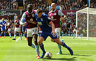 Lukas Jutkiewicz of Birmingham city (c)  battles with Alan Hutton of Aston Villa ® . EFL Skybet championship match, Aston Villa v Birmingham city at Villa Park in Birmingham, The Midlands on Sunday 23rd April 2017.<br /> pic by Bradley Collyer, Andrew Orchard sports photography.