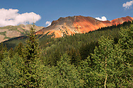 Red Mountain Pass elevation 11,018 ft, San Juan Mountains, southwestern Colorado, traversed by the US 550 (Million Dollar Highway), connects Ouray and Silverton, one of the highest paved passes in Colorado
