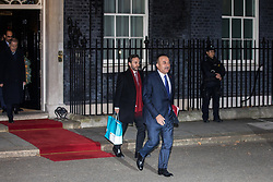 London, UK. 3 December, 2019. Mevlüt Çavuşoğlu, the Turkish Minister of Foreign Affairs, leaves 10 Downing Street following a meeting between Turkish President Recep Tayyip Erdoğan and French President Emmanuel Macron hosted by Prime Minister Boris Johnson and German Chancellor Angela Merkel to discuss the ongoing dispute between the two Presidents following the Turkish invasion of Kurdish-controlled areas of northern Syria.