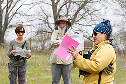 Burn boss preparing team and volunteers before controlled burn on Wilt's Prairie, a Blackland Prairie remnant near Ennis, Texas, south of Dallas. Texas, USA.