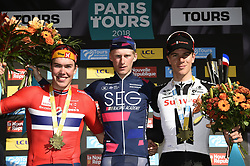 October 7, 2018 - Tours, France - Tours, France - October 7 : Erik Nordsaeter RESELL NOR OF Uno-X Hydrogen Norwegian Development Team, Marten KOOISTRA NED of SEG Racing Academy, Nils EEKHOFF  FR (Development Team Sunweb). during the 112th edition of the Paris - Tours Espoirs cycling race with start in Bonneval and finish in Tours on October 7, 2018 in Tours, France, 7/10/2018 (Credit Image: © Panoramic via ZUMA Press)