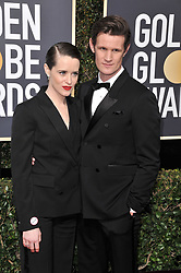 Claire Foy and Matt Smith at the 75th Golden Globe Awards held at the Beverly Hilton in Beverly Hills, CA on January 7, 2018.<br /><br />(Photo by Sthanlee Mirador)