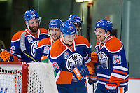 KELOWNA, CANADA - OCTOBER 2: Jesse Puljujarvi #39 of the Edmonton Oilers celebrates a goal against the Los Angeles Kings on October 2, 2016 at Kal Tire Place in Vernon, British Columbia, Canada.  (Photo by Marissa Baecker/Shoot the Breeze)  *** Local Caption *** Jesse Puljujarvi;