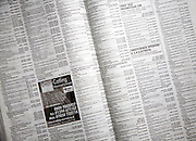 List of names, addresses and phone numbers on pages of BT telephone directory, UK