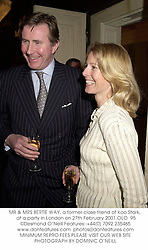 MR & MRS BERTIE WAY, a former close friend of Koo Stark,  at a party in London on 27th February 2001.OLO  95