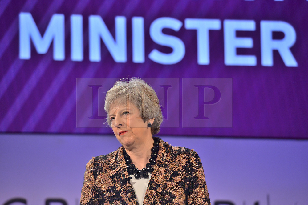 © Licensed to London News Pictures. 19/11/2018. London, UK. British prime minister THERESA MAY makes a keynote speech at the Confederation of British Industry (CBI) conference, held at Intercontinental Hotel. Photo credit: Ray Tang/LNP