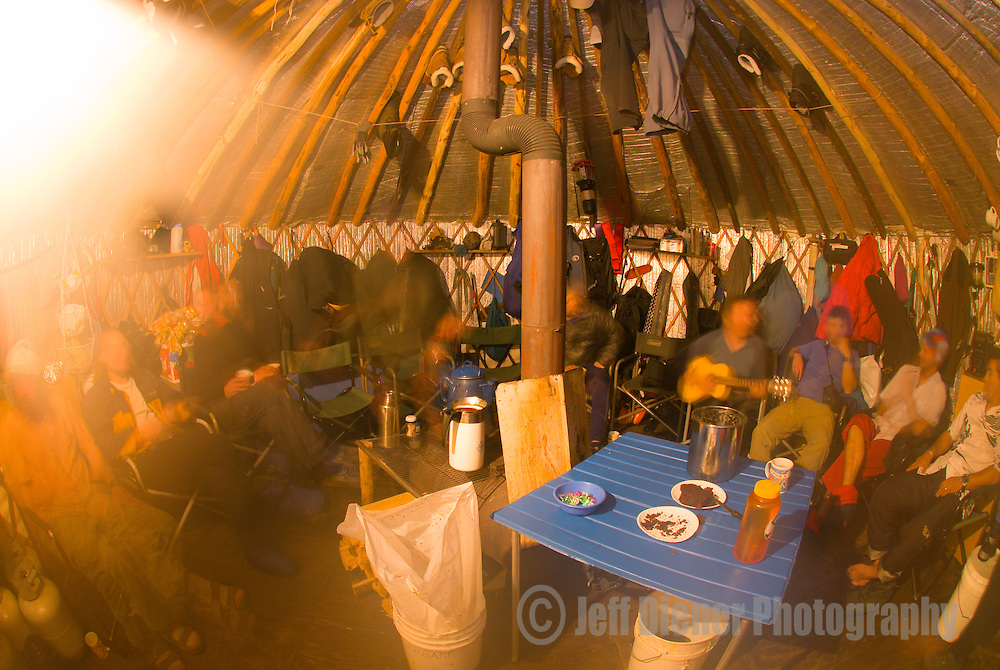 """Hanging out in the Wallowa Alpine Hut's """"dining/cook"""" yurt at McCully Basin Camp.  Wallowa Mountains, Eagle Cap Wilderness Area, Oregon."""