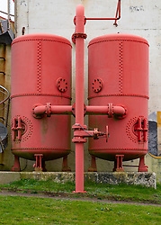 View of Sumburgh Lighthouse foghorn compressed air tanks at Sumburgh Head on Shetland, Scotland, UK