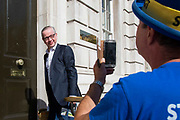 Pro remain campaigner Steve Bray interviews Michael Gove MP,  Chancellor of the Duchy of Lancaster as he arrives at the Cabinet office in Whitehall, London, United Kingdom on 22nd August 2019.