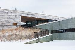 Snowfall and Trinity River Audubon Center, Dallas, Texas, USA.
