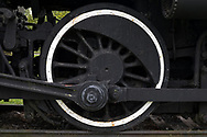 A wheel on the Grand Trunk Locomotive 1008 at the Aultsville Train Station near Morrisburg, Ontario, Canada. Grand Trunk Locomotive 1008 was built by the Canadian Locomotive Company (Kingston, Ontario) in 1910.