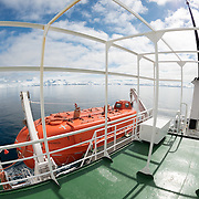 A wide-angle shot of the upper decks of the Polar Pioneer, an Antarctic cruise ship operated by Aurora Expeditions.