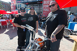Forever Two Wheels Nick Beaulieu with Austin Andrella of Austin Martin Originals and Ryan Gore at the Lone Star Rally. Galveston, TX. USA. Sunday November 5, 2017. Photography ©2017 Michael Lichter.