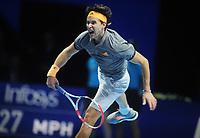 Tennis - 2019 Nitto ATP Finals at The O2 - Day Three<br /> <br /> Singles Group Bjorn Borg: Novak Djokovic (Serbia) vs.Domininic Thiem (Austria)<br /> <br /> Domininic Thiem serves<br /> <br /> COLORSPORT/ANDREW COWIE