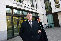 © Licensed to London News Pictures.20/01/2014. London, UK Lithuanian banker Raimondas Baranauskas leaves the Westminster Magistrates' Court. Vladimir Antonov and his Lithuanian business partner Raimondas Baranauskas, former co-owner of Lithuania's bankrupt commercial bank Snoras will be extradited to Lithuania where they are accused of asset stripping at Snoras Bank. Photo credit : Peter Kollanyi/LNP