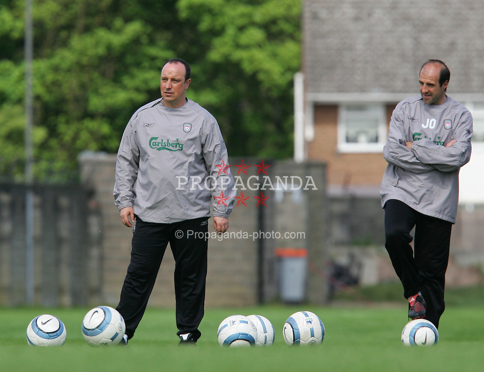 LIVERPOOL, ENGLAND. MONDAY, MAY 2nd, 2005: Liverpool's manager Rafael Benitez (L) with goalkeeping coach Jose Ochotorena training at Melwood Training Ground ahead of his side's UEFA Champions League Semi Final 2nd Leg against Chelsea. (Pic by David Rawcliffe/Propaganda)