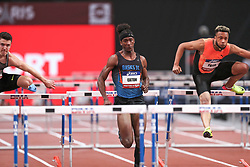 February 7, 2018 - Paris, Ile-de-France, France - From left to right : Dawid  Zebrowski of Poland, Jarret Eaton of USA, Ludovic Payen of France compete in 60m Hurdles during the Athletics Indoor Meeting of Paris 2018, at AccorHotels Arena (Bercy) in Paris, France on February 7, 2018. (Credit Image: © Michel Stoupak/NurPhoto via ZUMA Press)