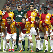 Galatasaray's players (Left to Right) (Front Row) Tomas UJFALUSI, Selcuk INAN, Sabri SARIOGLU, Milan BAROS, Caglar BIRINCI (Back Row) (Left to Right) Servet CETIN, Colin Kazim RICHARDS, goalkeeper Nestor Fernando MUSLERA, Gokhan ZAN, Emmanuel EBOUE, Felipe MELO during their Turkish soccer superleague match Istanbul BBSpor between Galatasaray at the Ataturk Olympic stadium in Istanbul Turkey on Sunday 11 September 2011. Photo by TURKPIX