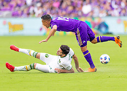 April 8, 2018 - Orlando, FL, U.S. - ORLANDO, FL - APRIL 08: Orlando City defender Yoshimar Yotun (19) gets fouled during the MLS soccer match between the Orlando City FC and the Portland Timbers at Orlando City SC on April 8, 2018 at Orlando City Stadium in Orlando, FL. (Photo by Andrew Bershaw/Icon Sportswire) (Credit Image: © Andrew Bershaw/Icon SMI via ZUMA Press)