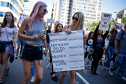 September 29, 2018 - Philadelphia, Pennsylvania, USA - Protestors take part in the March to End Rape Culture, an annual event in Philadelphia, September 29, 2018. By coincidence, the march was scheduled two days after the U.S. Senate held a hearing to investigate sexual assault charges against Supreme Court nominee Brett Kavanaugh by Dr. Christine Blasey Ford. (Credit Image: © Michael Candelori/ZUMA Wire)