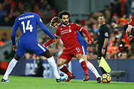 Mohamed Salah of Liverpool passes the ball while under pressure from Marcos Alonso of Chelsea. Premier League match, Liverpool v Chelsea at the Anfield stadium in Liverpool, Merseyside on Saturday 25th November 2017.<br /> pic by Chris Stading, Andrew Orchard sports photography.