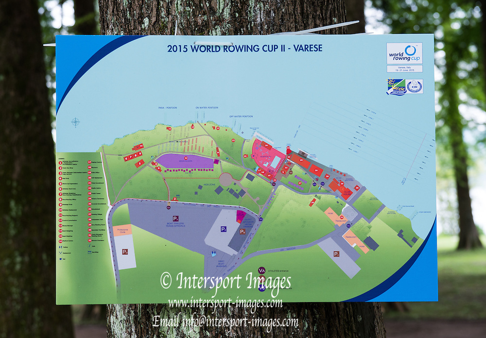 Varese. ITALY.  World Cup Course map.  2015 FISA World Cup II Venue Lake Varese. Thursday  18/06/2015 [Mandatory Credit: Peter Spurrier/Intersport-images.com]