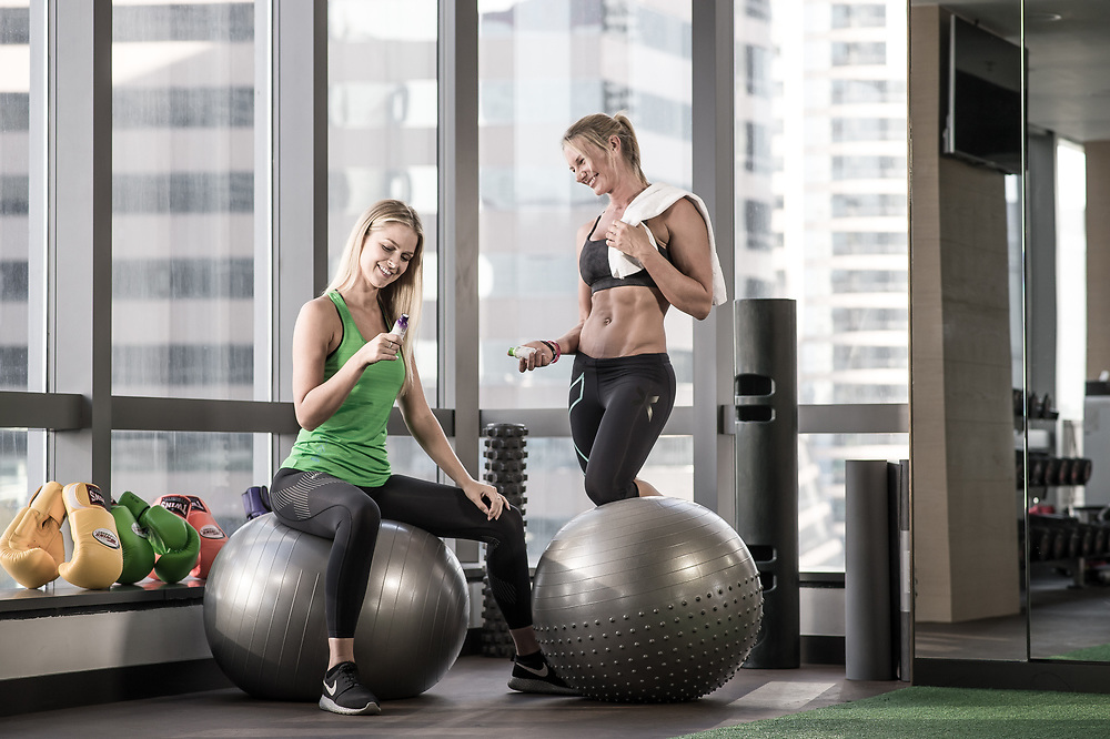 Alexa Towersey and Reanae Ayris pose during a photo shooting for Clarity energy and 2XU on Novembver 24, 2015 at the Inmortal Gym in Hong Kong, China. Photo by Victor Fraile/ illume visuals