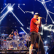 WASHINGTON, DC -  May 8th, 2012 - Chad Smith and Anthony Kiedis of the Red Hot Chili Peppers perform at the Verizon Center in Washington, D.C. The band was inducted into the Rock N Roll Hall Of Fame earlier this year and released their 10th studio album, I'm With You, in late 2011. (Photo by Kyle Gustafson/For The Washington Post)