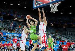 Jaka Blazic of Slovenia vs Zaza Pachulia of Georgia during basketball match between Slovenia and Georgia at Day 2 in Group C of FIBA Europe Eurobasket 2015, on September 6, 2015, in Arena Zagreb, Croatia. Photo by Vid Ponikvar / Sportida