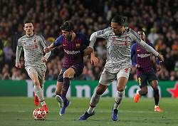 May 1, 2019 - Barcelona, Barcelona, Spain - Sergi Roberto of Barcelona in action during UEFA Champions League football match, between Barcelona and Liverpool, May 01th, in Camp Nou stadium in Barcelona, Spain. (Credit Image: © AFP7 via ZUMA Wire)