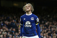 Tom Davies of Everton celebrates after scoring his teams 3rd goal. Premier league match, Everton v Manchester City at Goodison Park in Liverpool, Merseyside on Sunday 15th January 2017.<br /> pic by Chris Stading, Andrew Orchard sports photography.