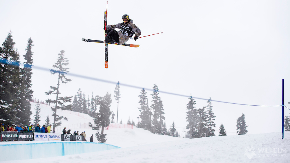 Lyman Currier (2nd) Men's Pipe Finals at the AFP World Skiing Invitational at Whistler-Blackcomb in Whistler, Canada. ©Brett Wilhelm