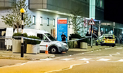 © Licensed to London News Pictures. 26/09/2018. Basildon, UK. Police at the scene at Basildon Hospital in Essex where a 19 year old male was take  after being shot in Tilbury earlier this evening. The male is being treated for a gunshot wound to the stomach and is currently in a serious condition. Photo Credit: Simon Ford/LNP