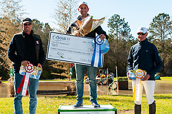 March 22, 2019 - Raeford, North Carolina, US - March 23, 2019 - Raeford, N.C., USA - ANDREW McCONNON of the United States won first place riding BOSSINOVA, KYLE CARTER of Canada placed second riding GAILLARDS LANCER, and HUGH WRIGLEY of Australia placed third riding FE SANTOS in the cross country CCI-2S division at the sixth annual Cloud 11-Gavilan North LLC Carolina International CCI and Horse Trial, at Carolina Horse Park. The Carolina International CCI and Horse Trial is one of North AmericaÃ•s premier eventing competitions for national and international eventing combinations, hosting International competition at the CCI2*-S through CCI4*-S levels and National levels of Training through Advanced. (Credit Image: © Timothy L. Hale/ZUMA Wire)
