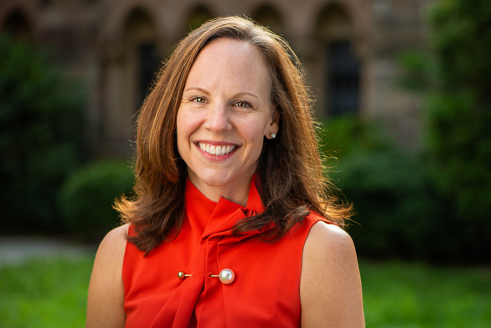 © Photo by Mara Lavitt<br /> August 31, 2020<br /> Yale University, New Haven, CT<br /> <br /> Yale University Librarian Barbara Rockenbach photographed in the courtyard at Sterling Memorial Library.