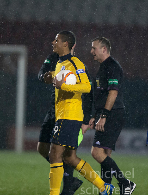 Falkirk's Lyle Taylor gets the match ball at the end..Airdrie United 1 v 4 Falkirk, 22/12/2012..©Michael Schofield.