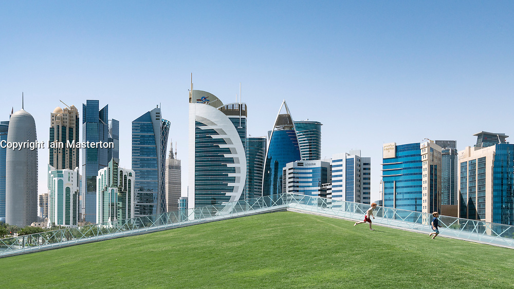 View of modern office towers in West Bay financial and business district in Doha Qatar