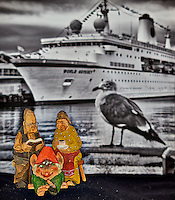 Troll family waiting to board the MV World Odyssey while it was docked at the cruise terminal San Diego, California. Unfortunately, they had to wait a day and take a bus to Ensenada, Mexico before they could board the ship and start the Semester at Sea, 2016 Spring Semester voyage. Composite of nine focus stacked images taken with a Nikon D810a camera and 60 mm f/2.8 macro lens (ISO 200, 60 mm, f/4, 1/25 sec). Helicon Focus used to process the images.