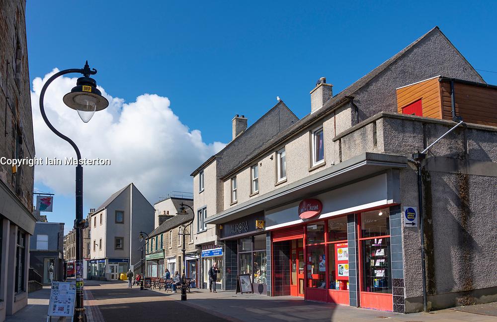 Shopping precinct central Thurso on  the North Coast 500 scenic driving route in northern Scotland, UK