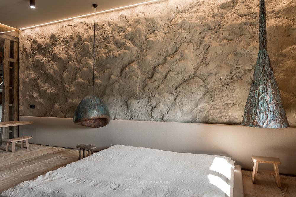 Private house, bedroom. Decor lamps, design by Sergey Makhno. Kyiv, Ukraine, 2019.